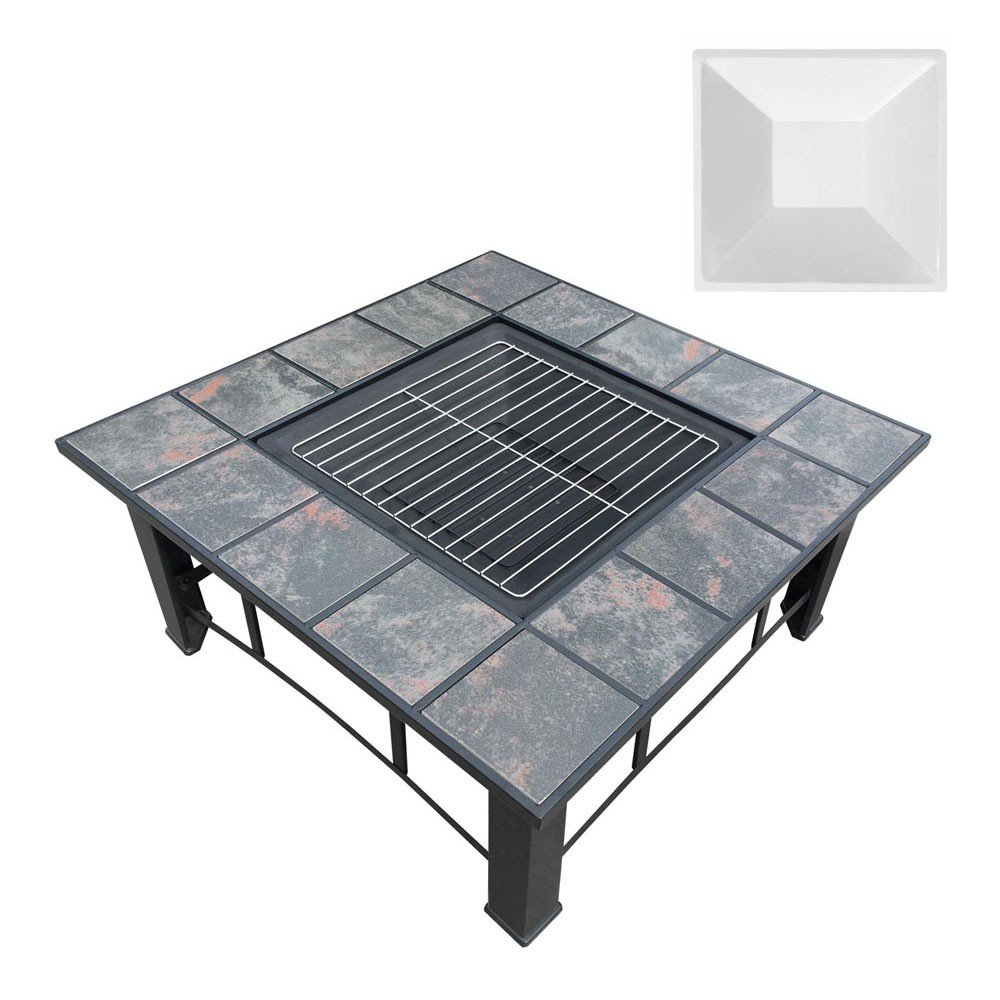 Outdoor Fire Pit BBQ Table Grill Fireplace Ice Bucket with Table Lid