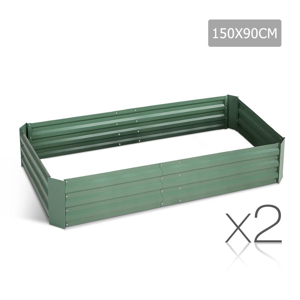 Set of 2 Galvanised Steel Garden Bed - Green