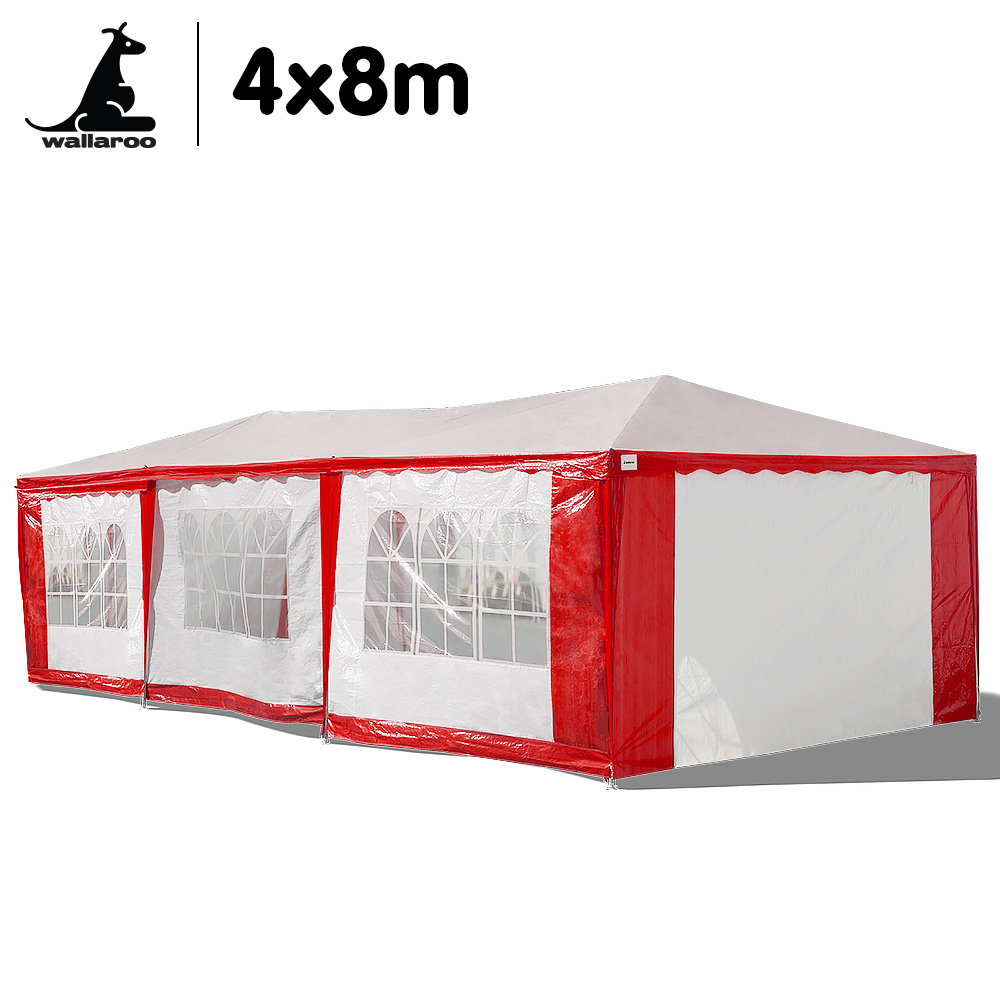 Wallaroo 4x8 Outdoor Event Wedding Marquee Tent Red+White