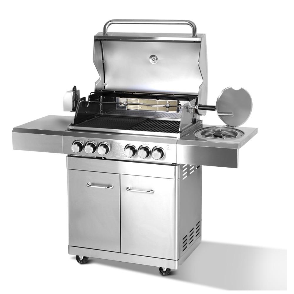 Stainless Steel 6 Burner Gas BBQ