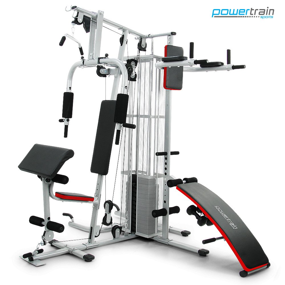 Powertrain multi station home gym with weights