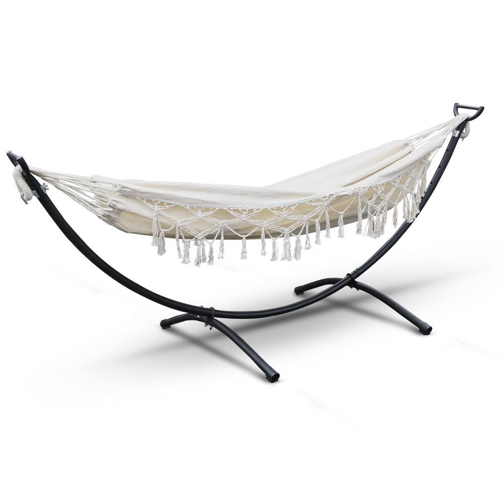 Hanging Tassel Hammock Swing Bed Cream