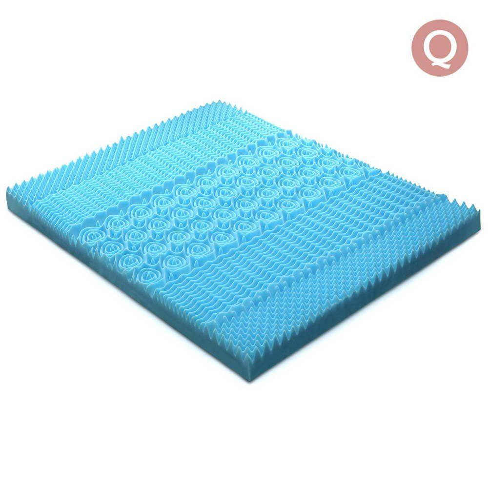Queen Size 8cm Cool Gel Mattress Topper - Blue