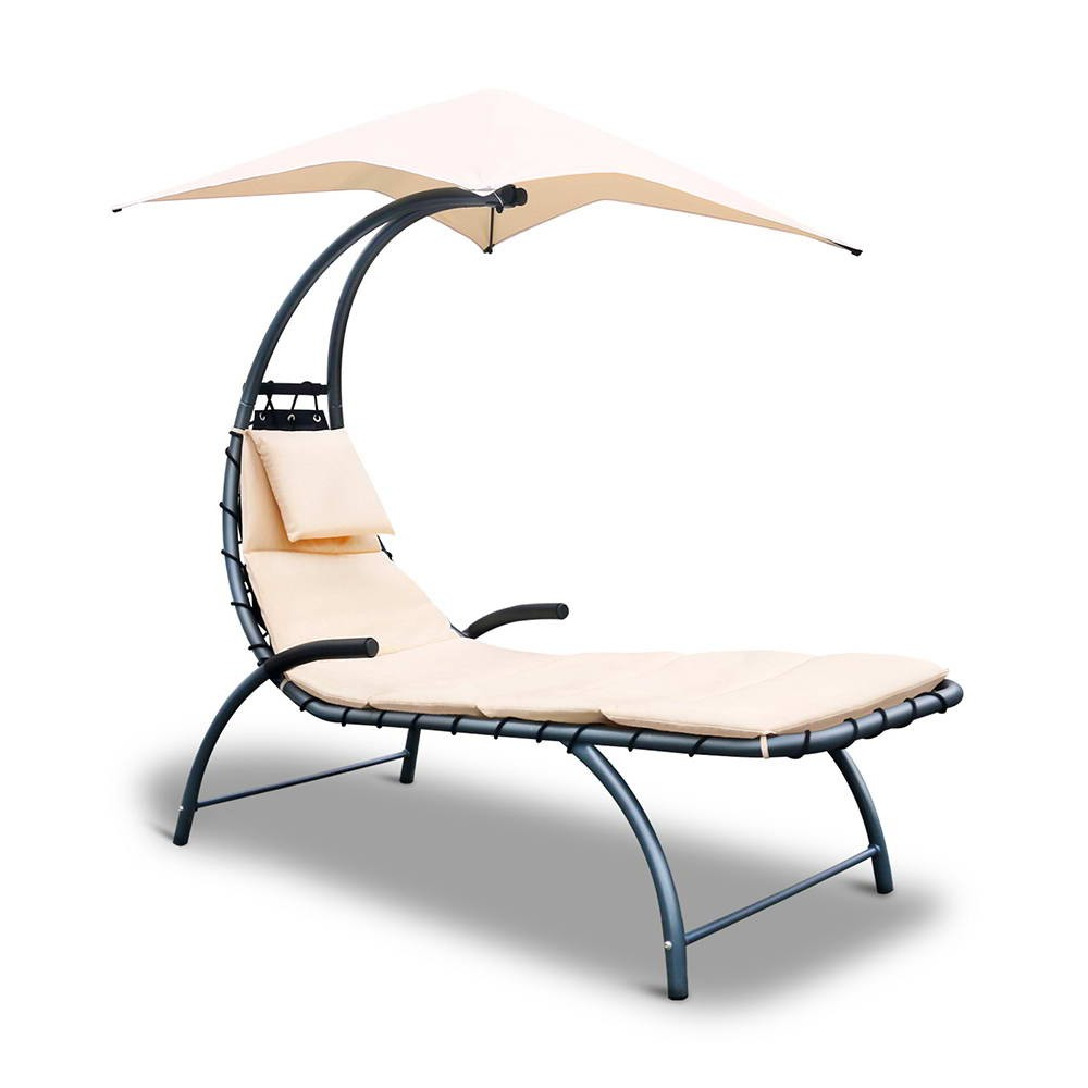 Outdoor Lounge Chair with Shade - Beige
