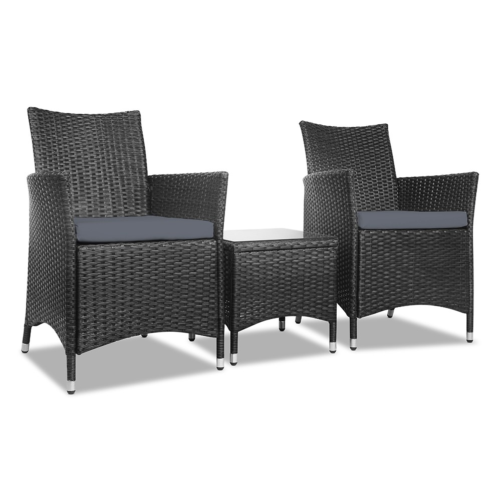 3 Piece Wicker Outdoor Furniture Set - Black