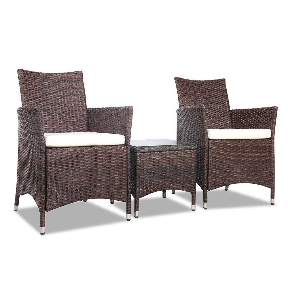 3 Piece Wicker Outdoor Furniture Set - Brown