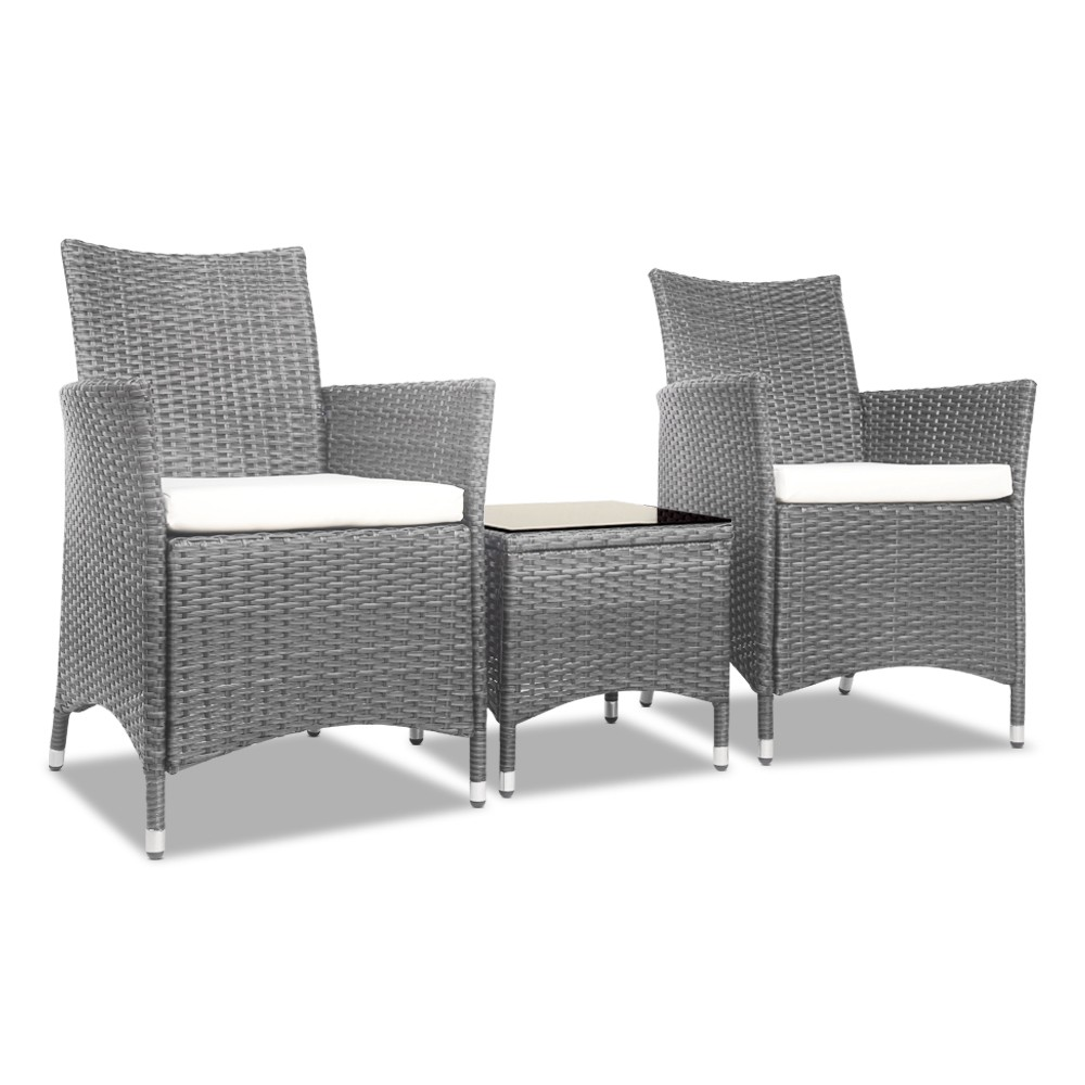 3pc Rattan Bistro Wicker Outdoor Furniture Set Grey