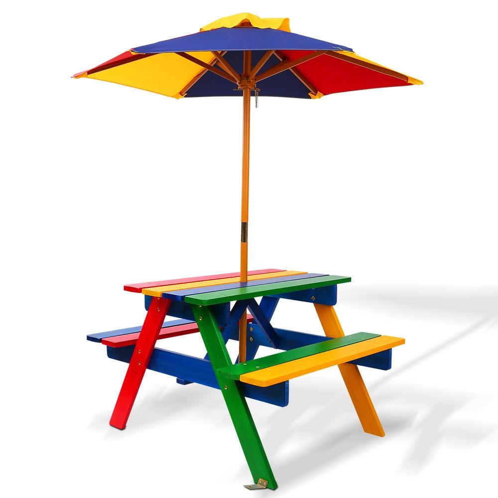 Kids Wooden Picnic Table Set with Umbrella - Rainbow
