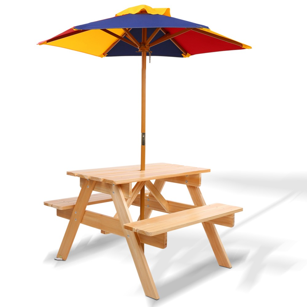 Kids Wooden Picnic Table Set with Umbrella - Natural