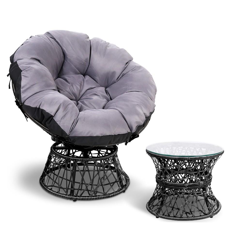 Gardeon Papasan Chair and Side Table - Black