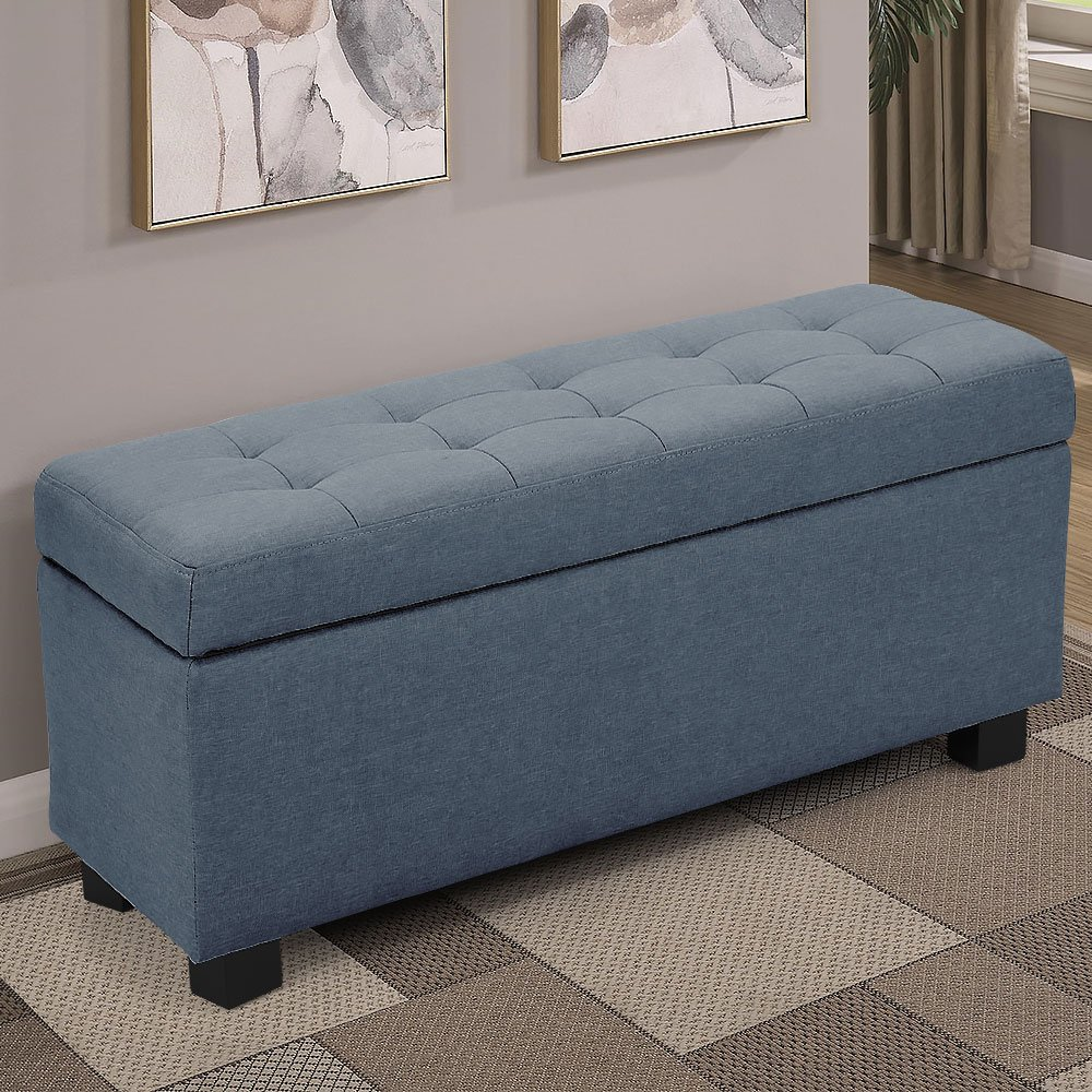 Ottomans Lucia Storage Chest Grey Fabric: Large Ottoman Linen Fabric Storage Box Footstool Chest