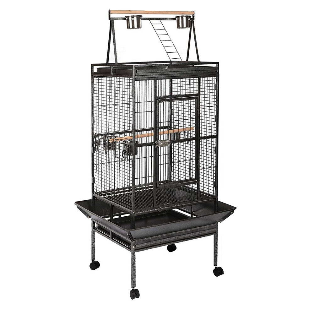 Large Pet Bird Parrot Cage with Perch - Black