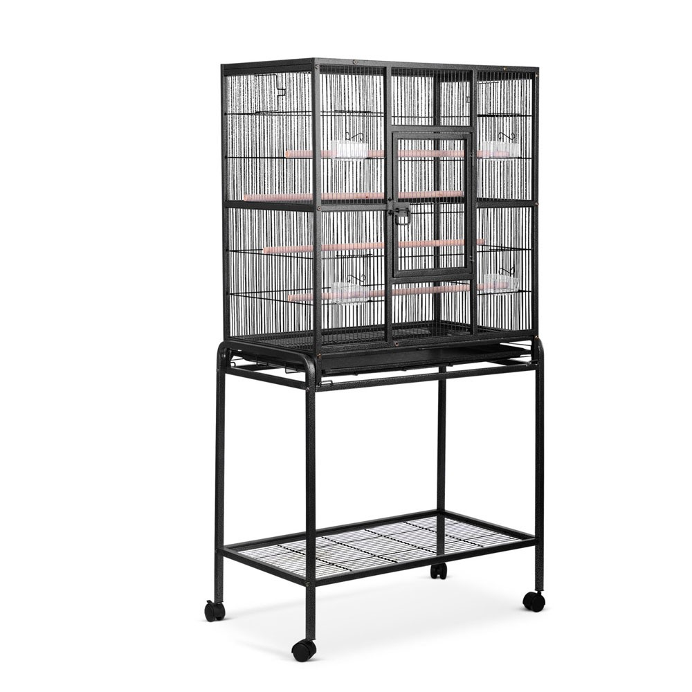 Heavy Duty Large Bird Parrot Cage with Perch - Black