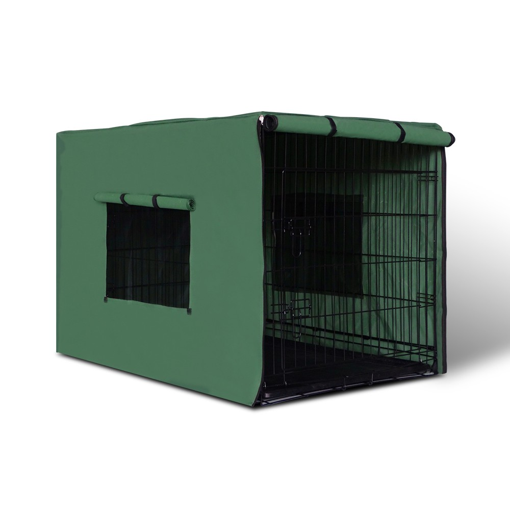 Large 36in Collapsible Pet Dog Cat Cage with Green Cover