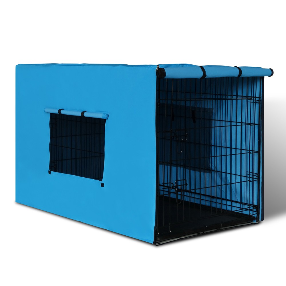 X-Large 42in Collapsible Pet Cage with Blue Cover