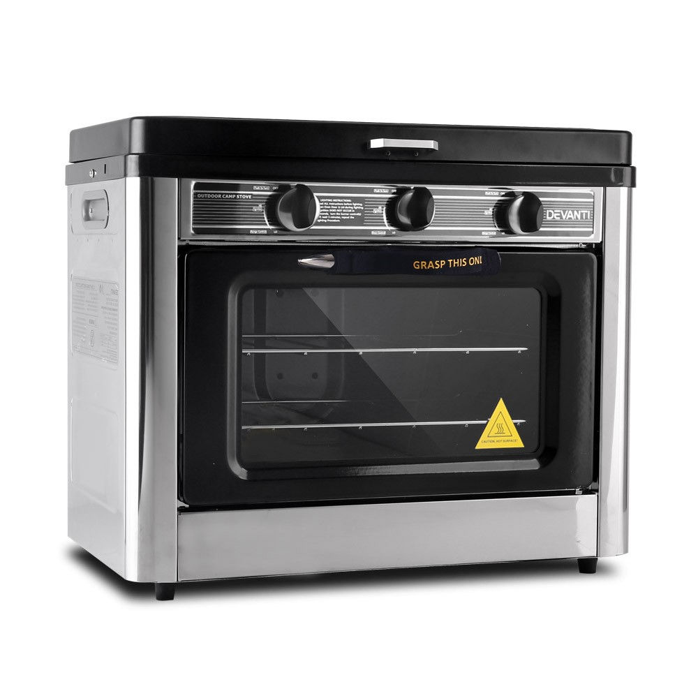 Devanti Portable Gas Oven and Stove Silver and Black