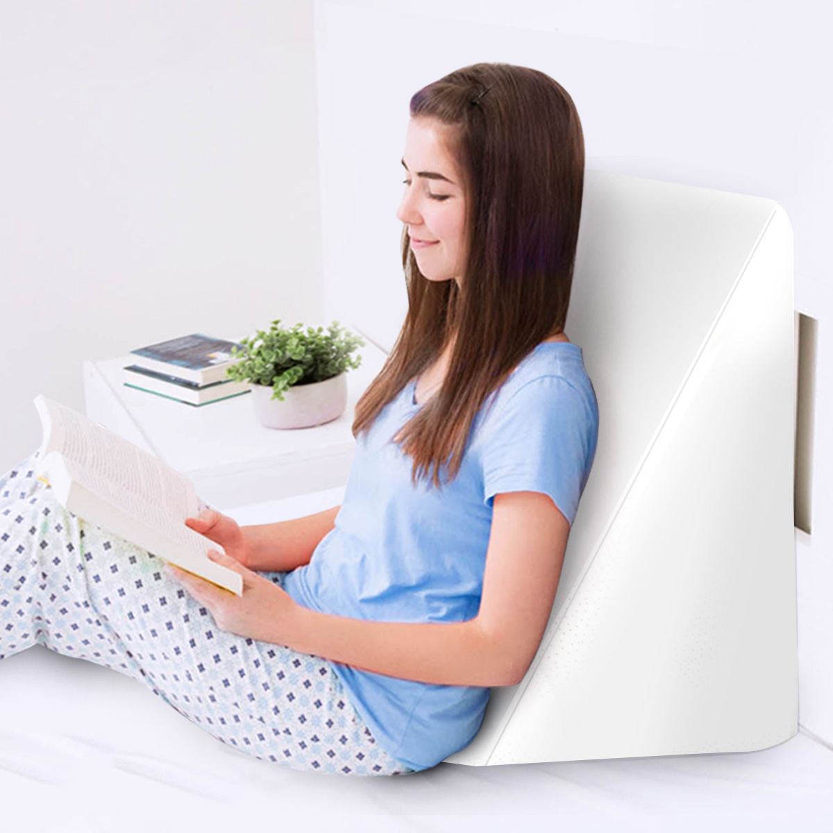 Wedge Pillow Cushion Bed Backrest - White