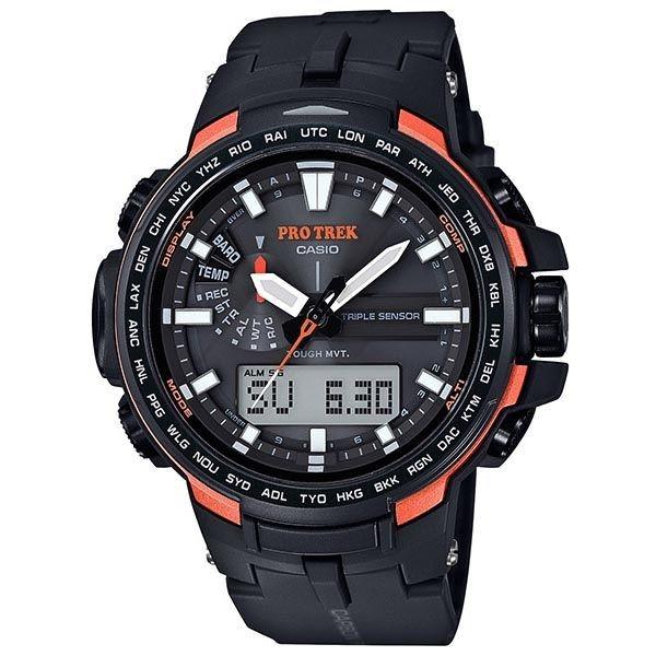Casio Protrek Solar Analogue/Digital Mens Black/Orange Watch...