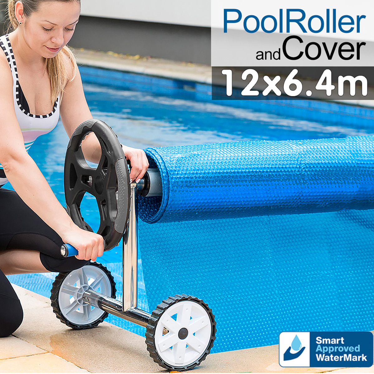 Pool Cover and Roller 12 x 6.4m