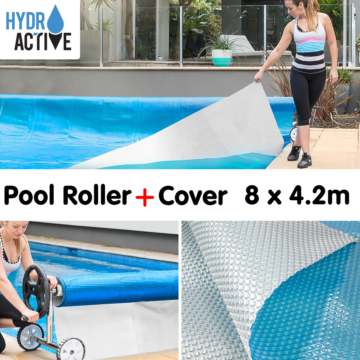 Swimming Pool Roller Cover Combo 400micron Silver Blue