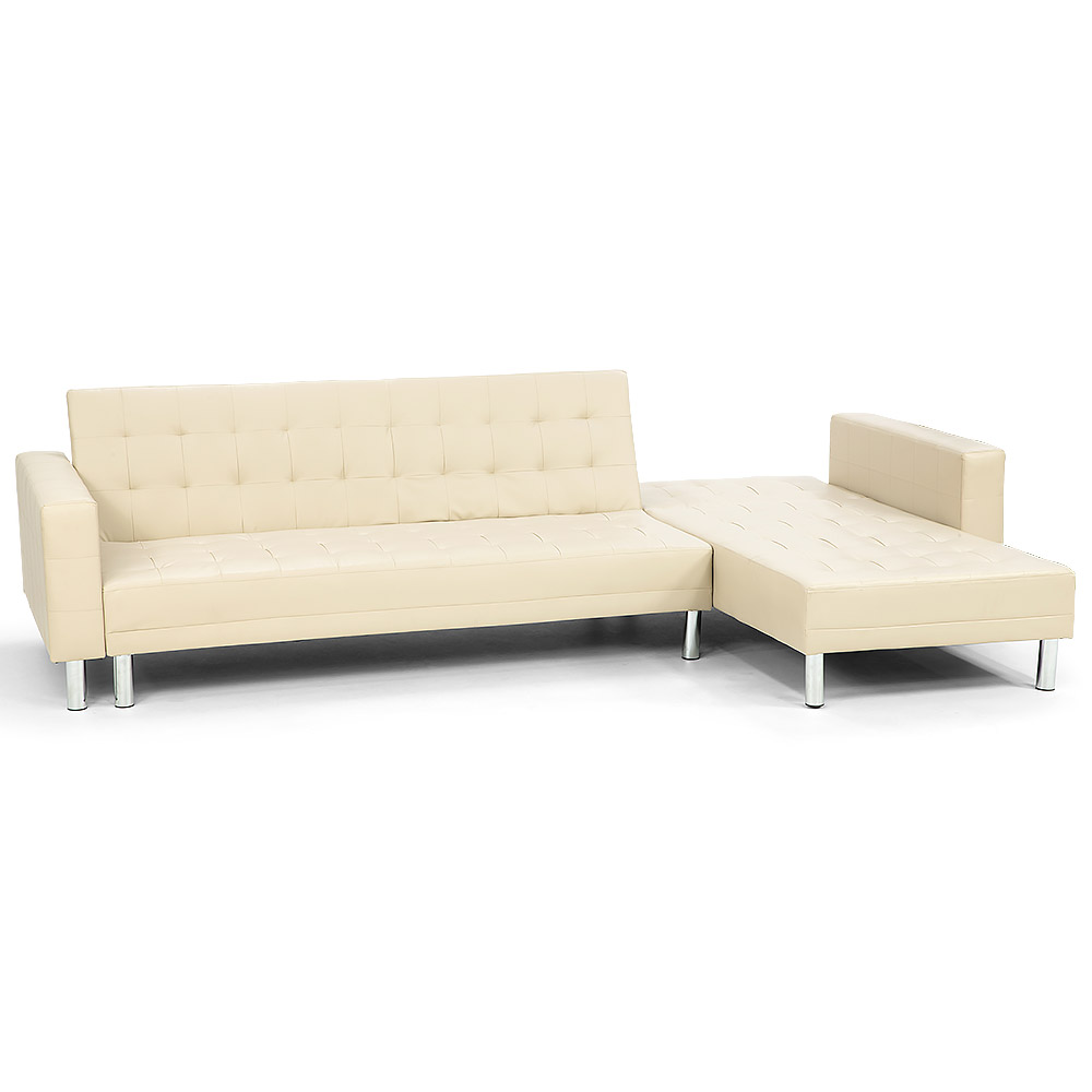 Corner Faux Leather Sofa Bed Couch with Chaise - Beige