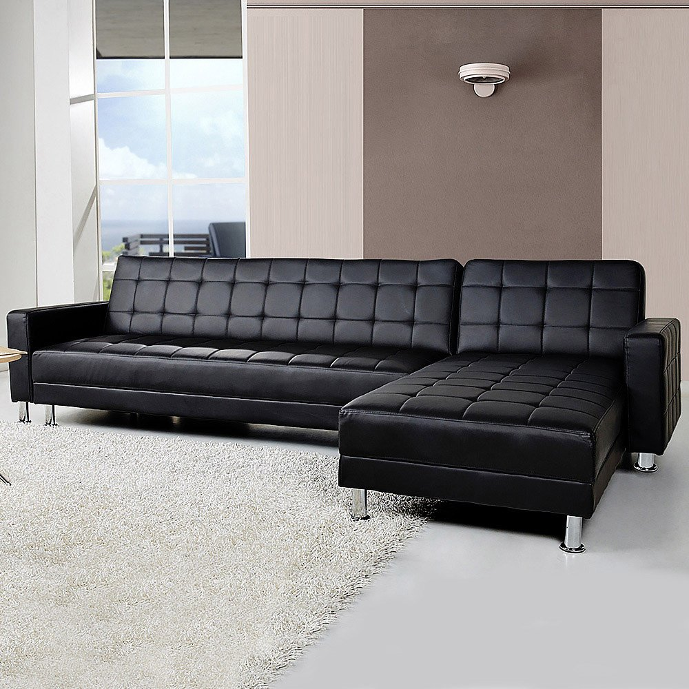 Corner Faux Leather Sofa Bed Couch With Chaise Black
