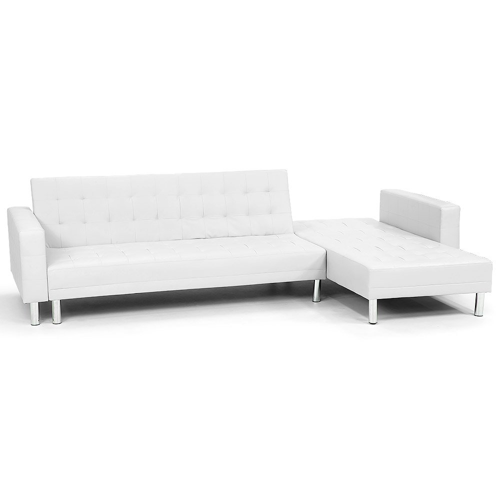 Corner Faux Leather Sofa Bed Couch with Chaise - White
