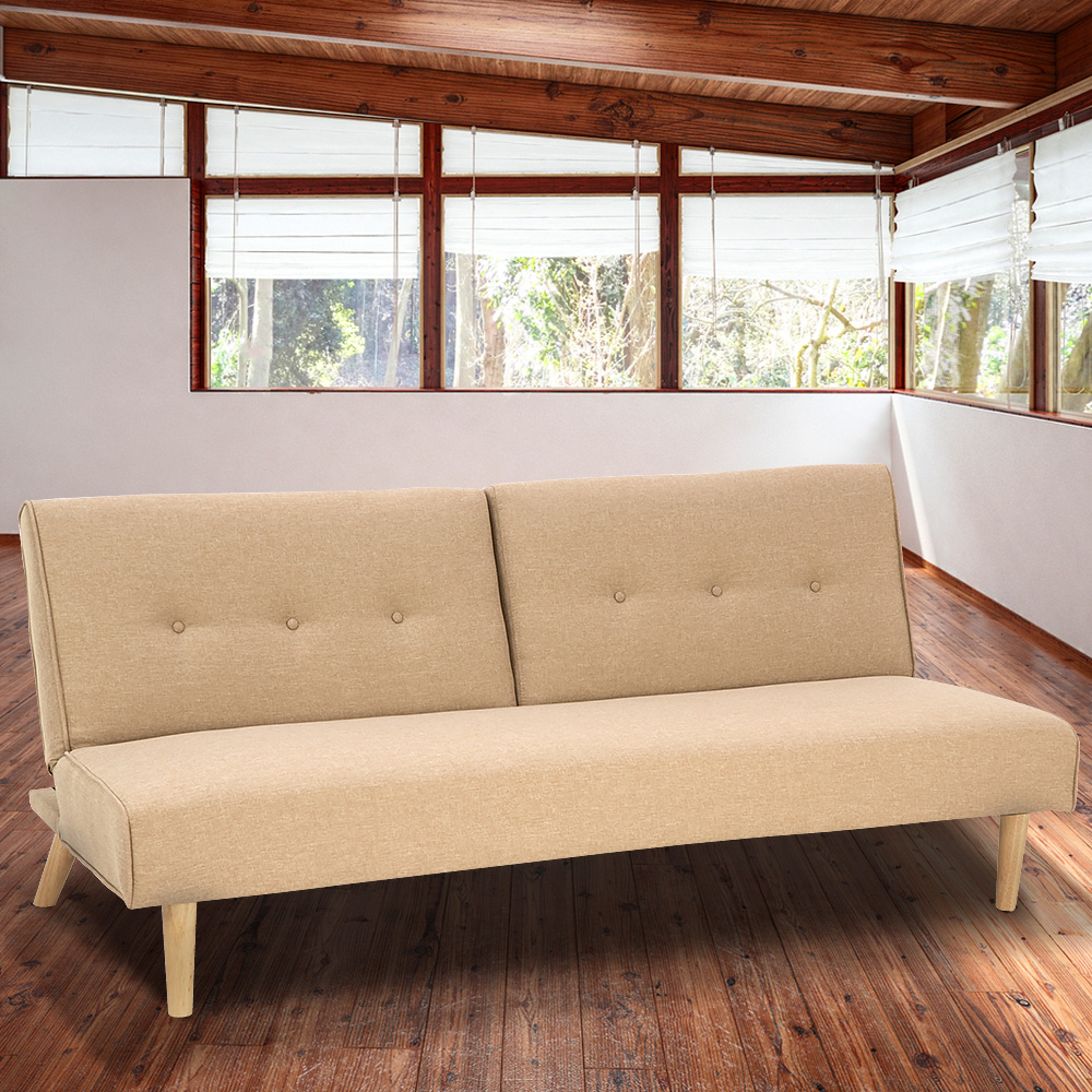 Soho 3 Seater Modular Linen Fabric Sofa Bed Couch Lounge Futon - Beige