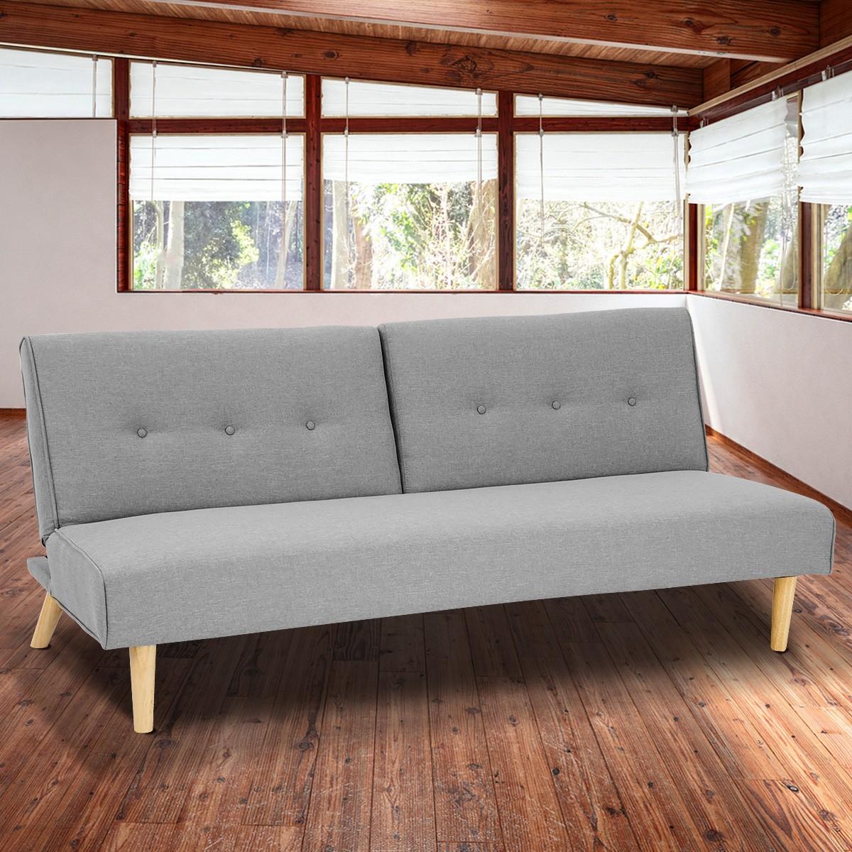 Soho 3 Modular Linen Fabric Sofa Bed Couch Lounge Futon - Light Grey