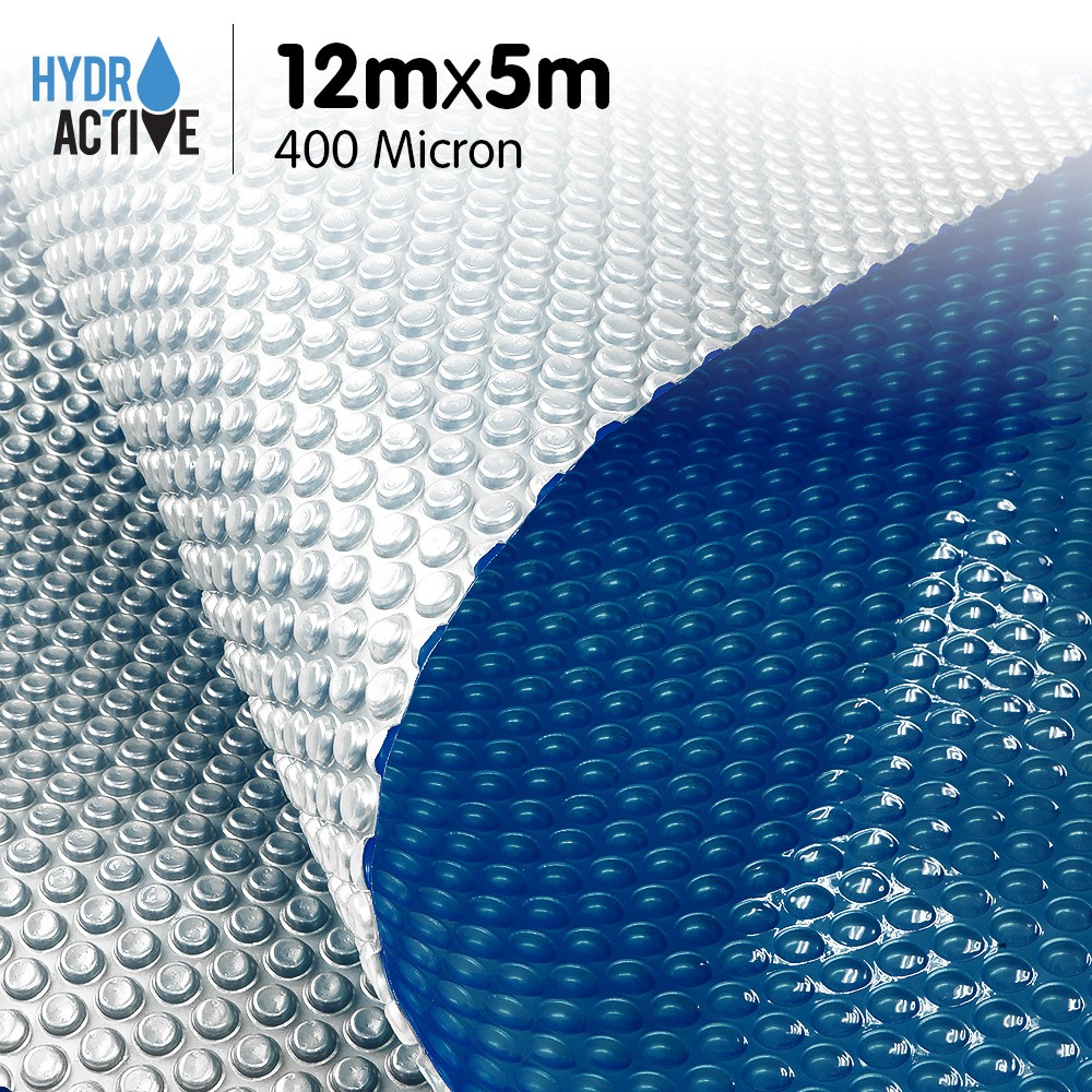 400 Micron Solar Swimming Pool Cover Silver/Blue - 12m x 5m