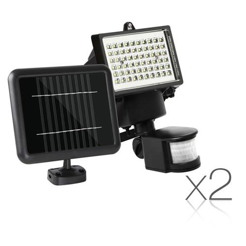 Set of 2 60 LED Solar Sensor Outdoor Light