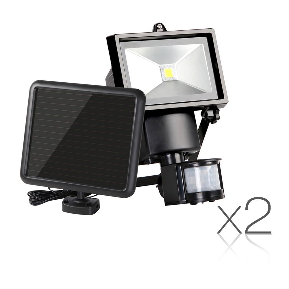 Set of 2 COB LED Solar Powered Motion Sensor Lights