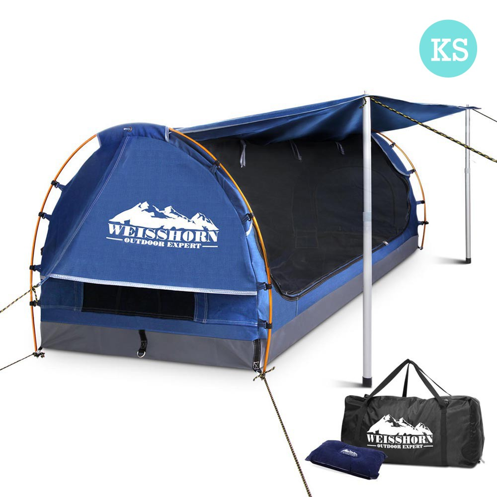 King Single Camping Canvas Swag With Mattress And Air