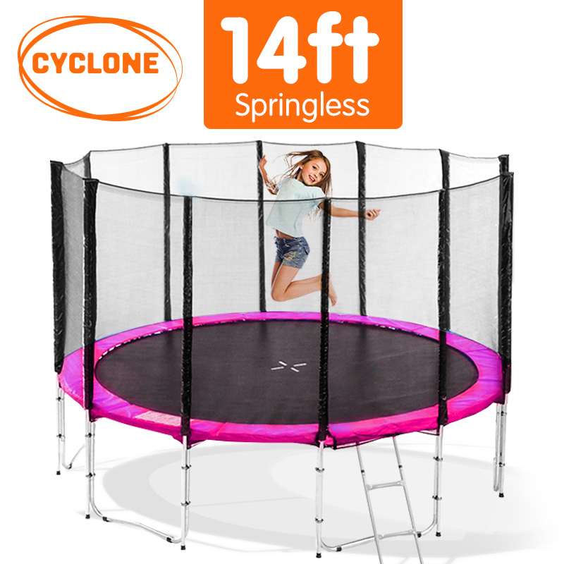 Cyclone 14 ft Springless trampoline with net - Pink
