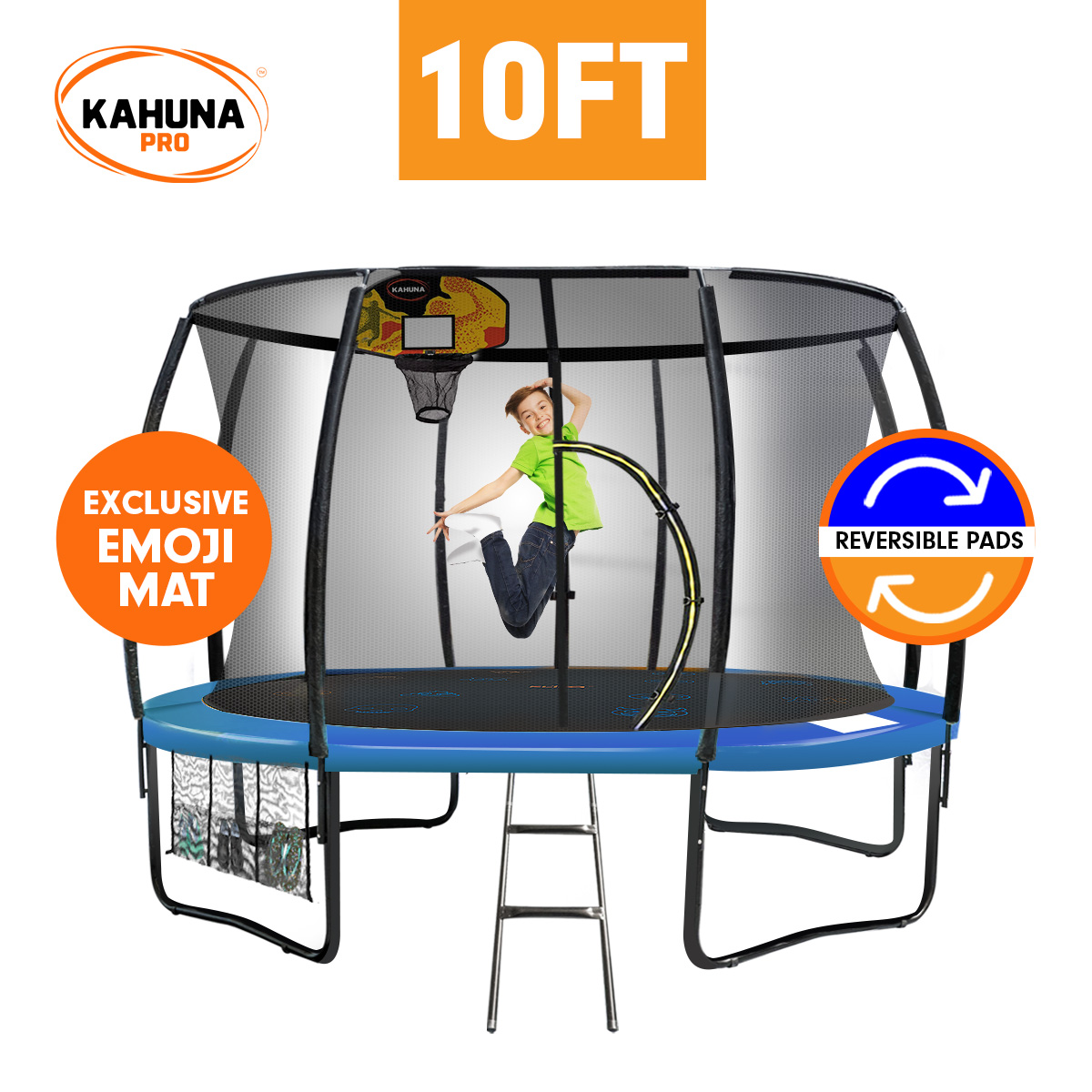 Kahuna Pro 10 ft Trampoline with Emoji Mat Reversible Pad Basketball Set