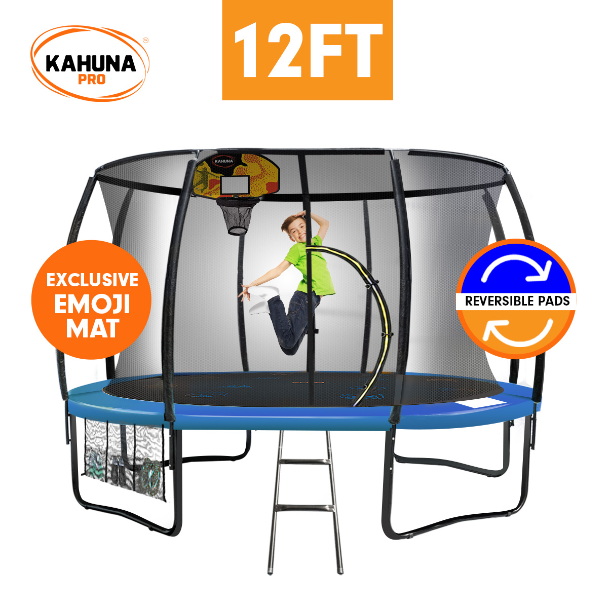 Kahuna Pro 12 ft Trampoline with Emoji Mat Reversible Pad Basketball Set