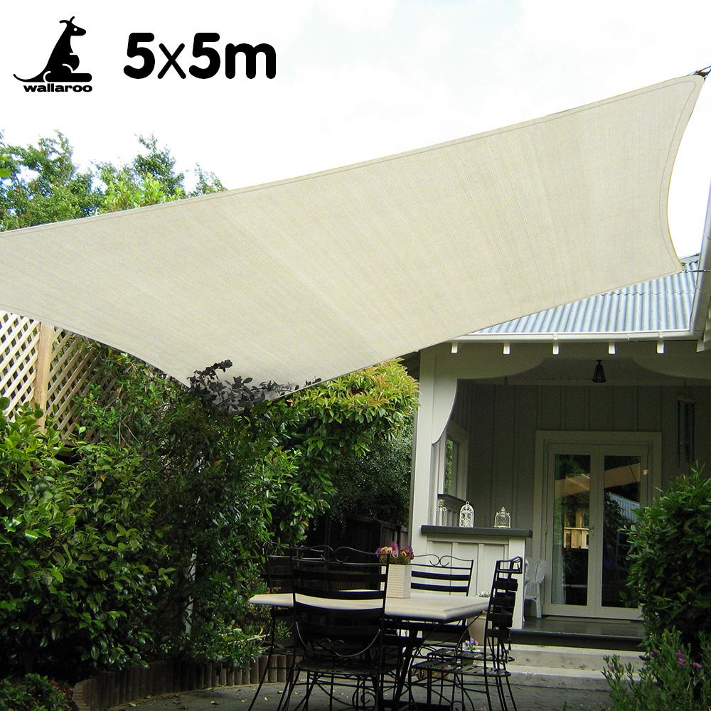 Wallaroo Waterproof Shade sail 5 x 5m Square